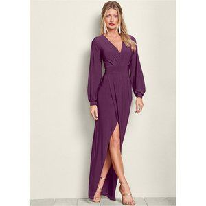 VENUS Wrap Surplice Long Sleeve Purple Maxi